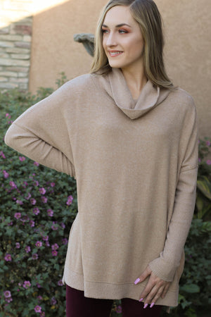 Willow Cowlneck Top: Taupe - ShopSpoiled