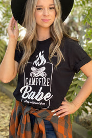 Campfire Babe Graphic Tee: Black - ShopSpoiled