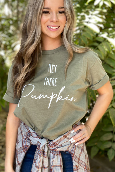 Hey There Pumpkin Tee: Olive - ShopSpoiled