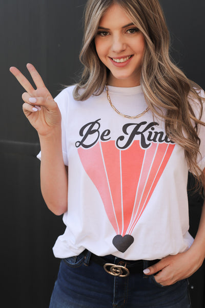 Retro Be Kind Graphic Tee: White - ShopSpoiled