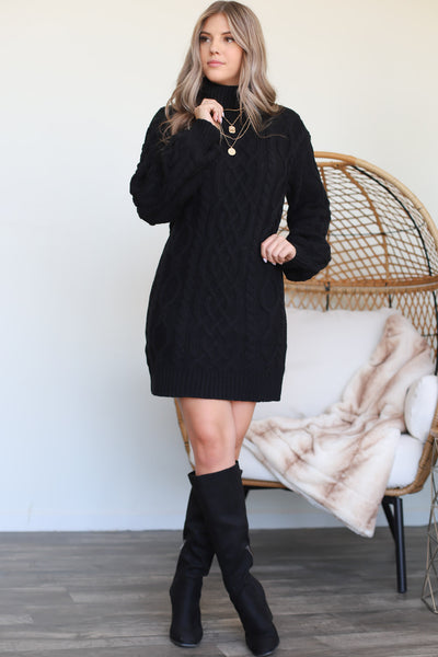 Lucky Break Sweater Dress: Black - ShopSpoiled