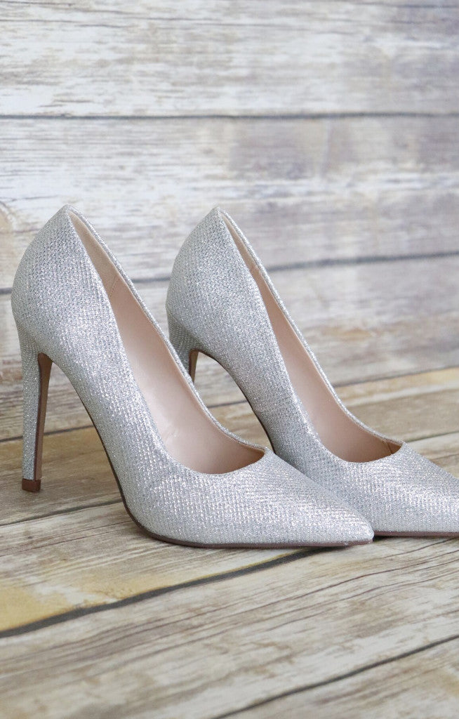 Cindy Glitter Heel: Silver - ShopSpoiled