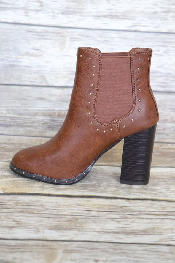 On The Upside Of Things Bootie: Cognac - ShopSpoiled