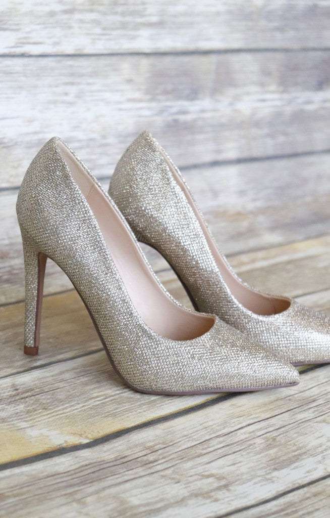 Cindy Glitter Heel: Rose Gold - ShopSpoiled