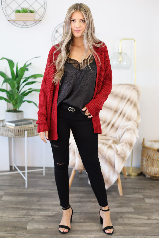 All I Really Want Cardigan: Maroon - Shop Spoiled Boutique