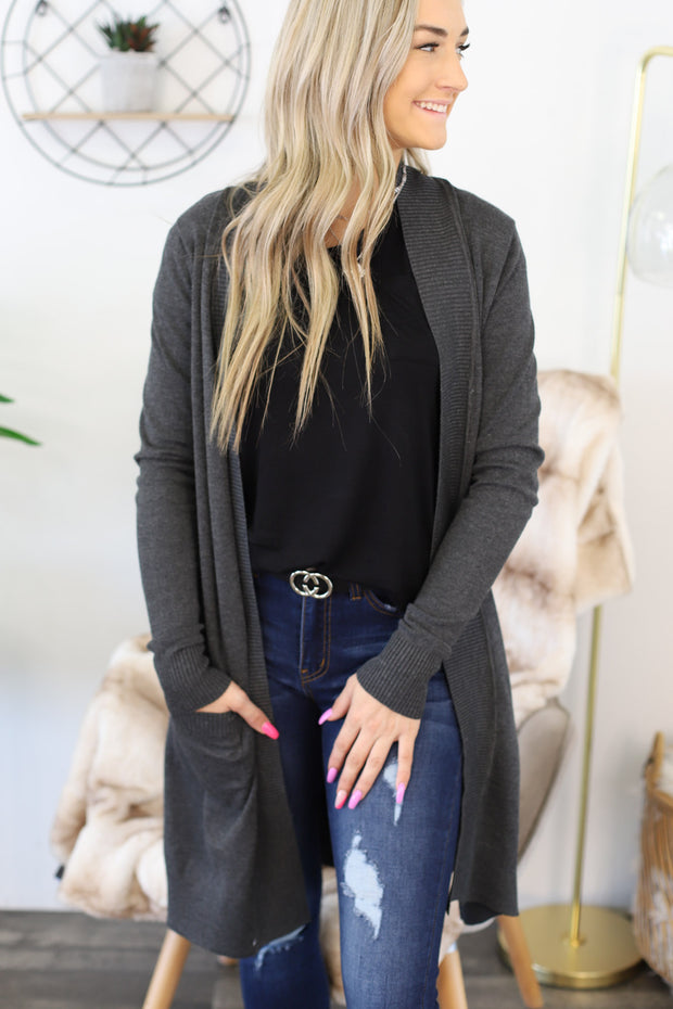 You Got This Cardigan: Charcoal - ShopSpoiled
