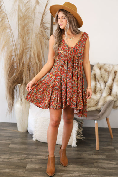 On Second Thought Dress: Rust - Shop Spoiled Boutique