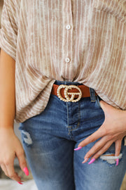 GG Pearl Belt: Tan/Gold - ShopSpoiled