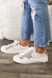 Courtney Silver Studded Sneakers - ShopSpoiled