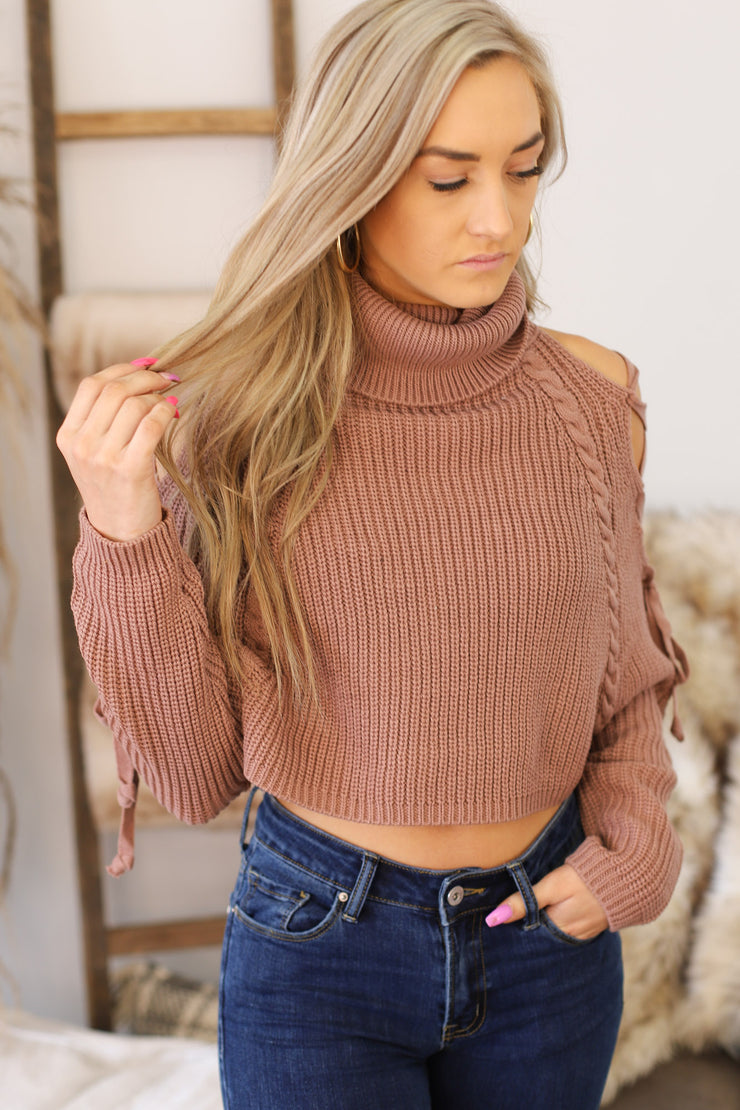 Time Will Tell Sweater: Mauve - ShopSpoiled