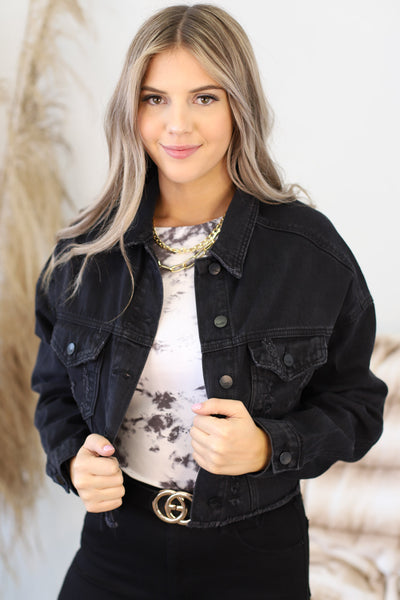 Heather Black Denim Cropped Jacket - ShopSpoiled