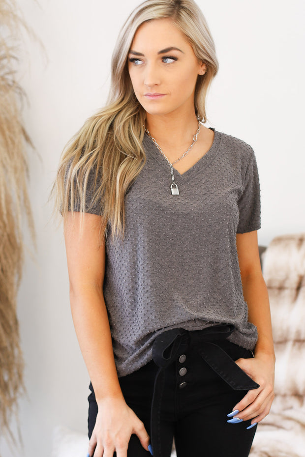 Away With Me Top: Charcoal - ShopSpoiled