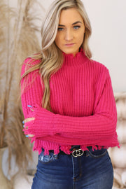 Chill With Me Sweater: Hot Pink - ShopSpoiled