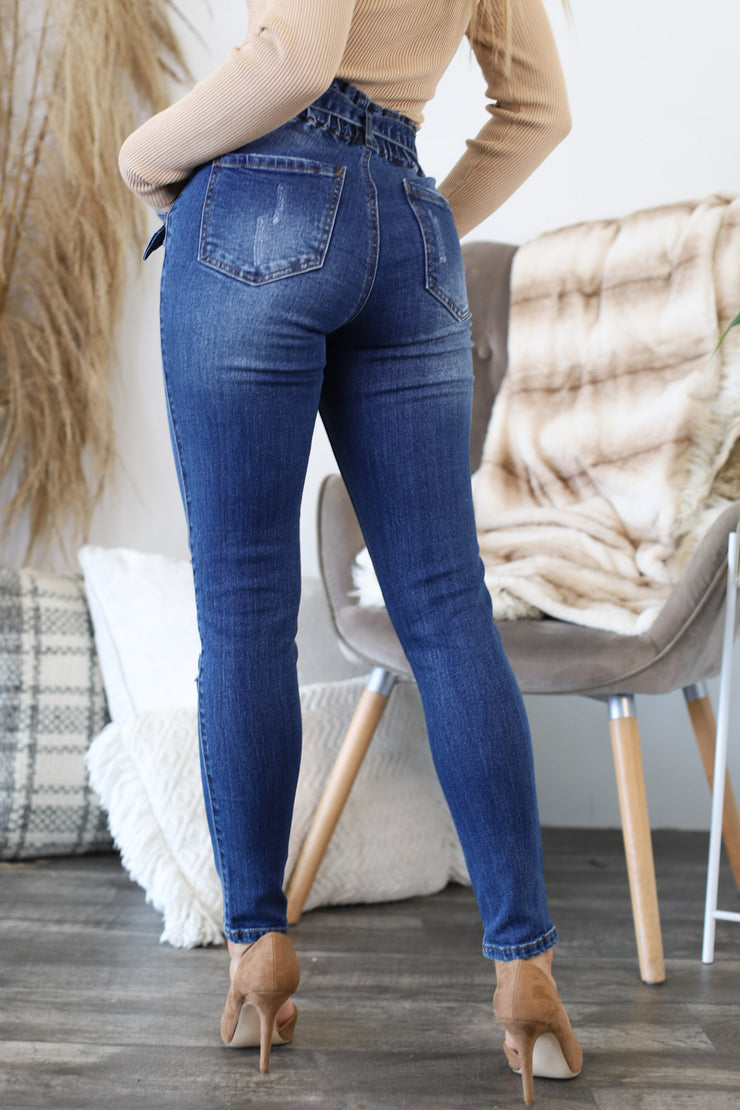 Daisy Paperbag Skinny Jeans: Dark Wash - ShopSpoiled