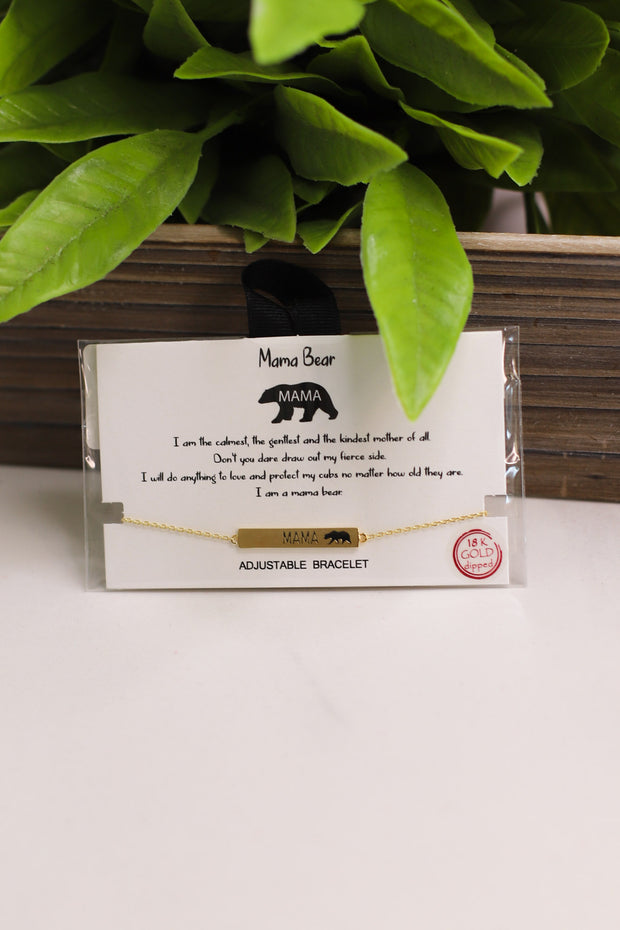 Mama Bear Bracelet: Gold - Shop Spoiled Boutique