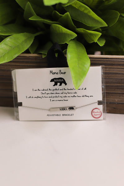 Mama Bear Bracelet: Silver - Shop Spoiled Boutique