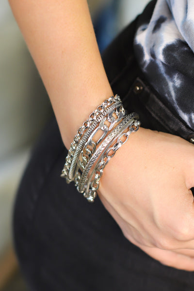 Layered With Love Bracelet: SILVER - Shop Spoiled Boutique