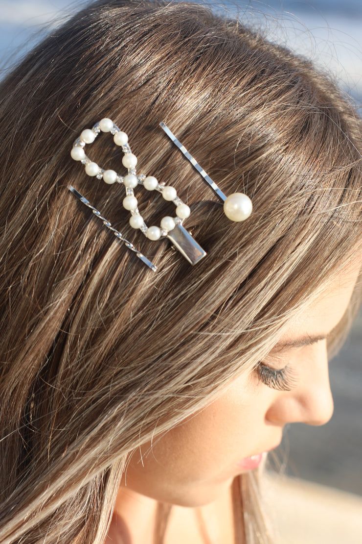 3pc Pearl Hair Clips: Silver - ShopSpoiled