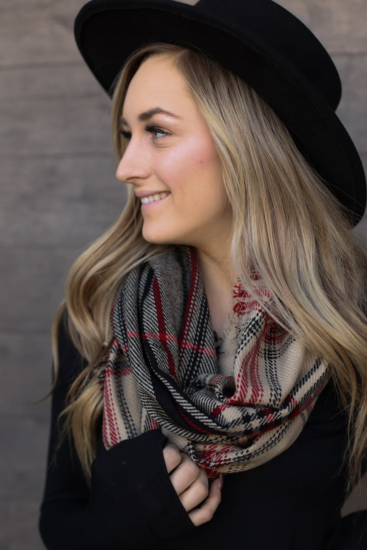 Infinity Scarf: Taupe/Red - ShopSpoiled