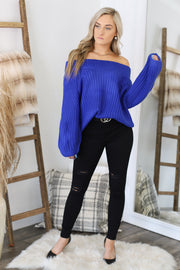 All Warmed Up Sweater: Royal Blue - ShopSpoiled