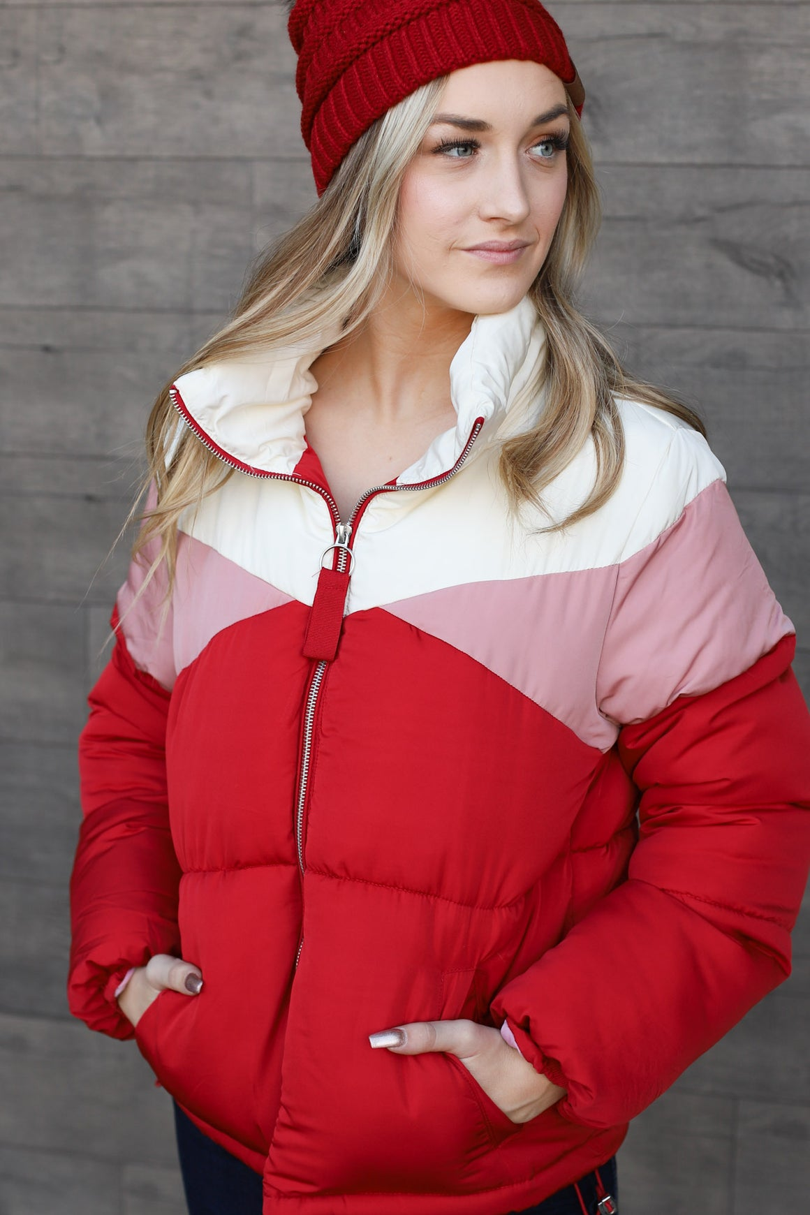 Snowed In Jacket: Red - ShopSpoiled