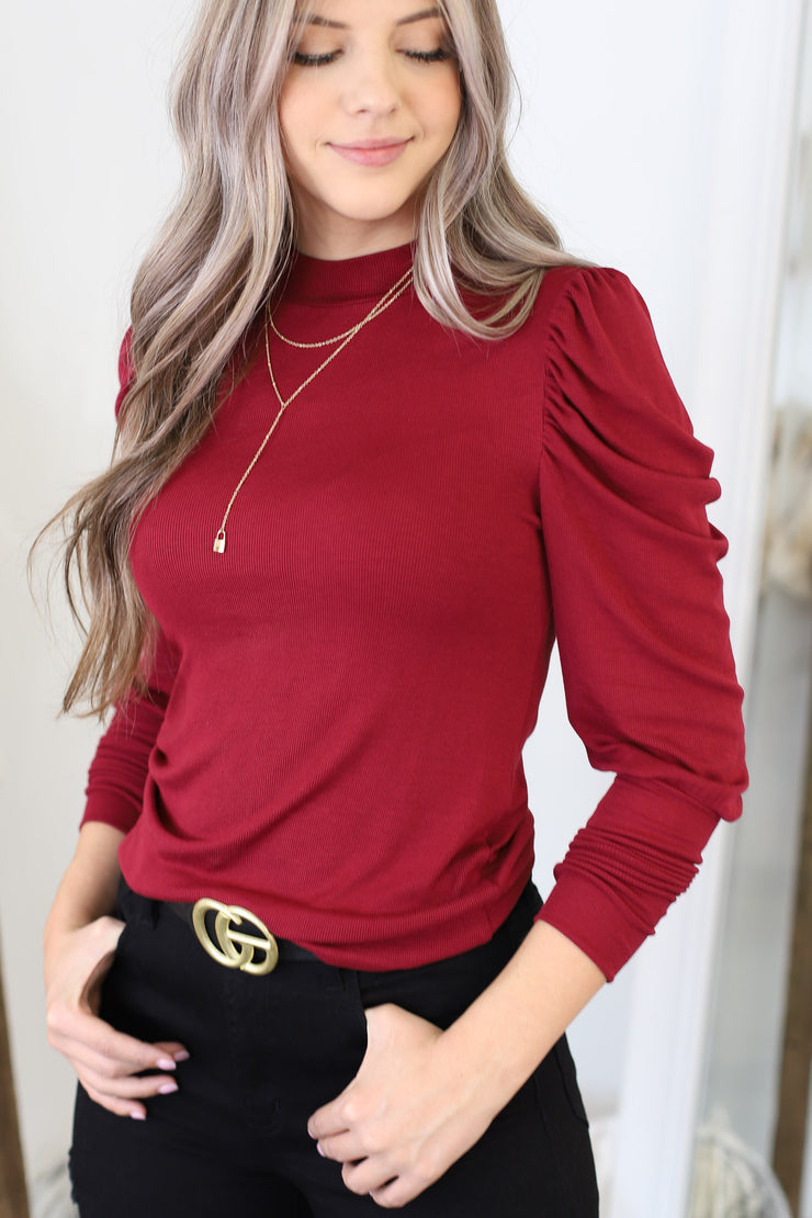Stay Stylish Top: Burgundy - ShopSpoiled