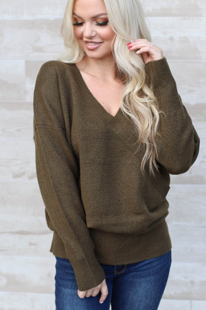 Sleigh Ride Sweater : Olive - ShopSpoiled