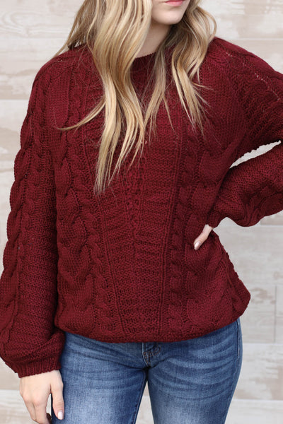 Victoria Sweater: burgundy - ShopSpoiled