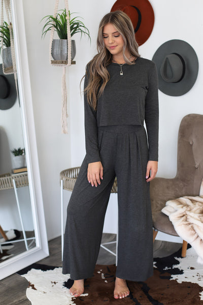 Cozy Livin Lounge Set: Charcoal - ShopSpoiled