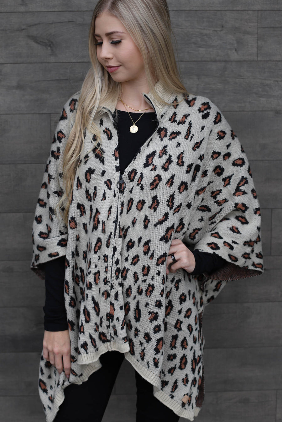 Leopard Poncho - Light Tan - ShopSpoiled