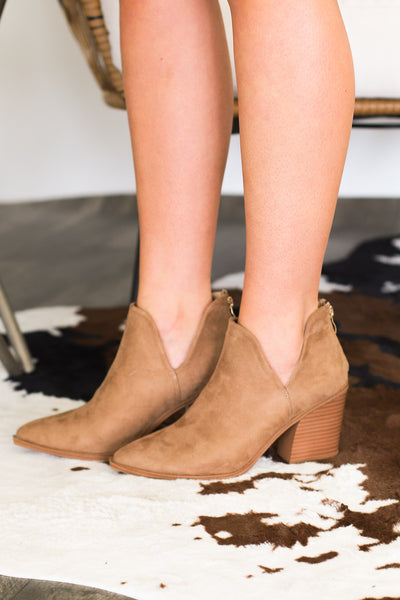 Camryn Booties: Taupe - ShopSpoiled