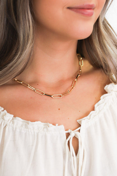 Gianna Paper Clip Chain Necklace - ShopSpoiled