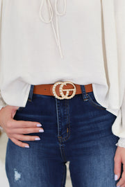 GG Belt: Tan/Pearl and Gold - ShopSpoiled