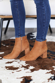 Vanessa Booties: Tan Suede - ShopSpoiled