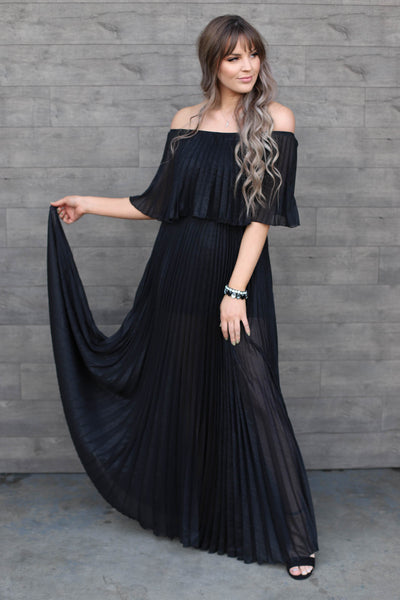 Show Stopper Dress: Black Shimmer - ShopSpoiled