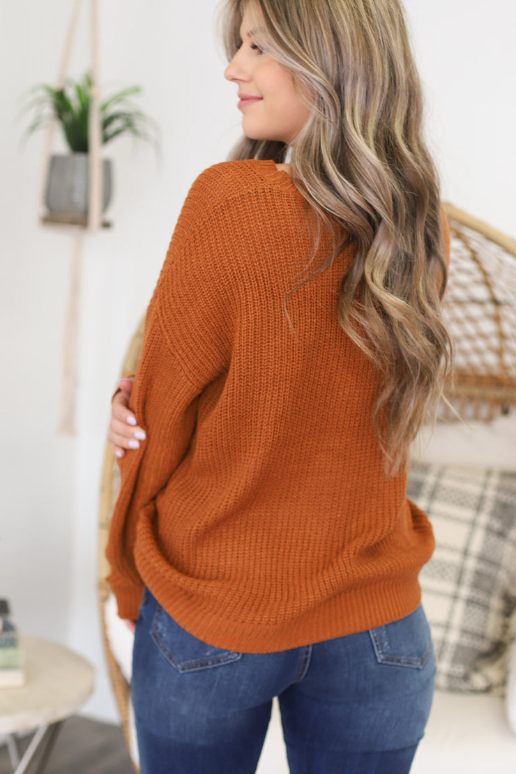 Happily Ever Effortless Sweater: Rust - ShopSpoiled