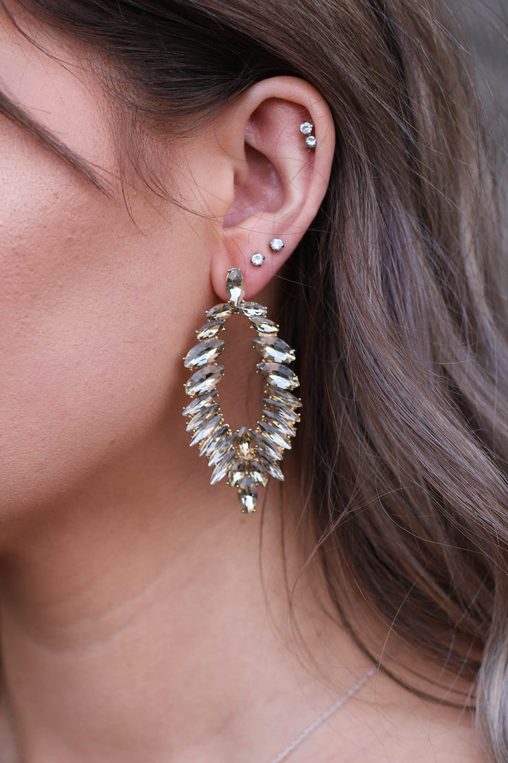 Timeless Rhinestone Earrings: Taupe - Shop Spoiled Boutique