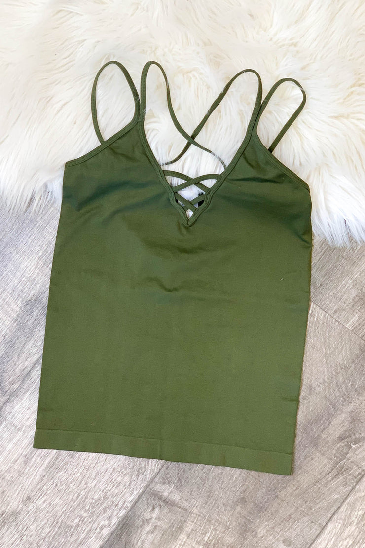 Cross Front Cami: Olive - ShopSpoiled