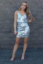 It's Glit Sequin Dress: Silver - ShopSpoiled