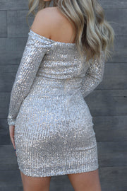 Sparkle City Dress: Nude/Silver - ShopSpoiled