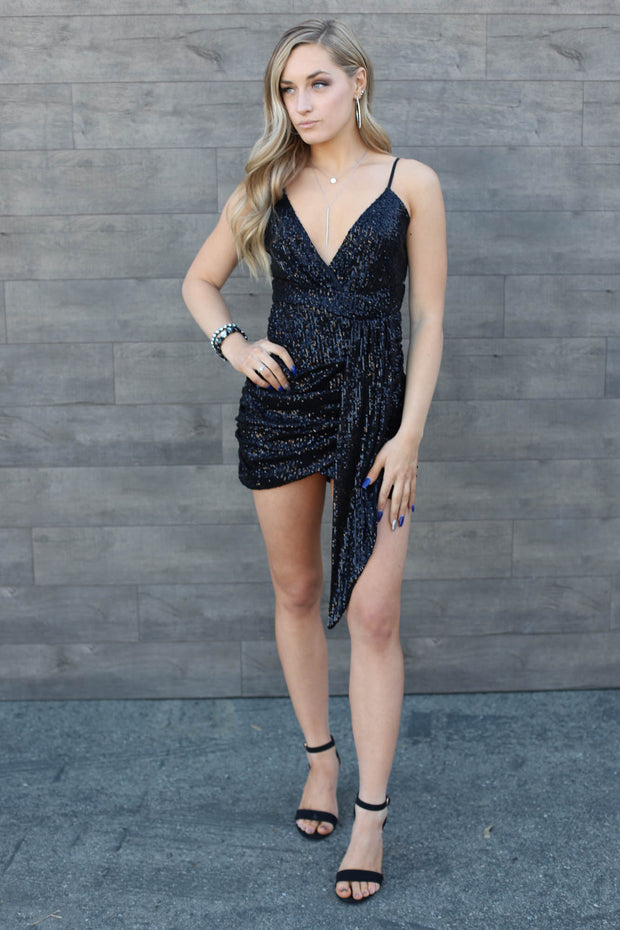Sparkle Party Sequin Dress: Black - ShopSpoiled
