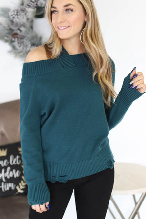 Cut It Out Sweater: Teal - ShopSpoiled