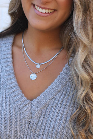 Spartan Silver Layered Coin Necklace - ShopSpoiled