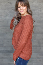 Likely Choice Sweater: Rust - ShopSpoiled