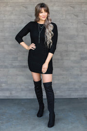 Be Bold Sweater Dress: Black - ShopSpoiled