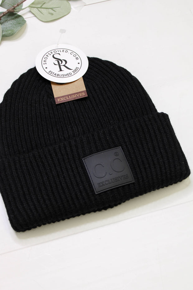 Label CC Beanie: Black - ShopSpoiled