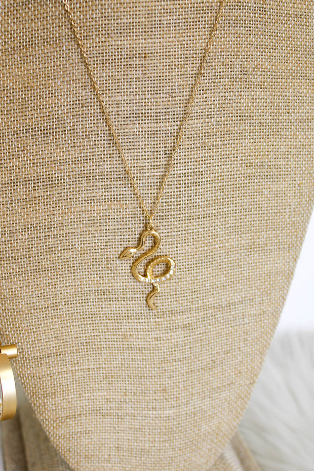 Boujee Days Snake Necklace: Gold - ShopSpoiled