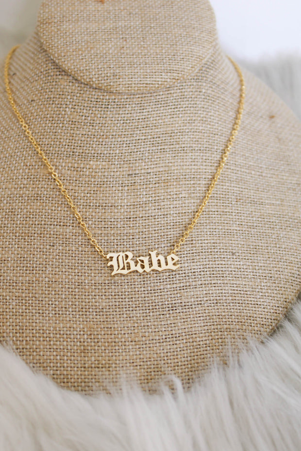 Babe Old English Necklace - ShopSpoiled