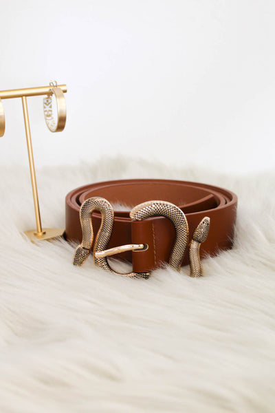 Snake Belt: Brown - ShopSpoiled