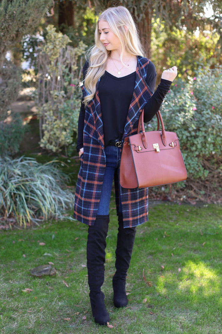 Invested Plaid Vest: Navy - ShopSpoiled